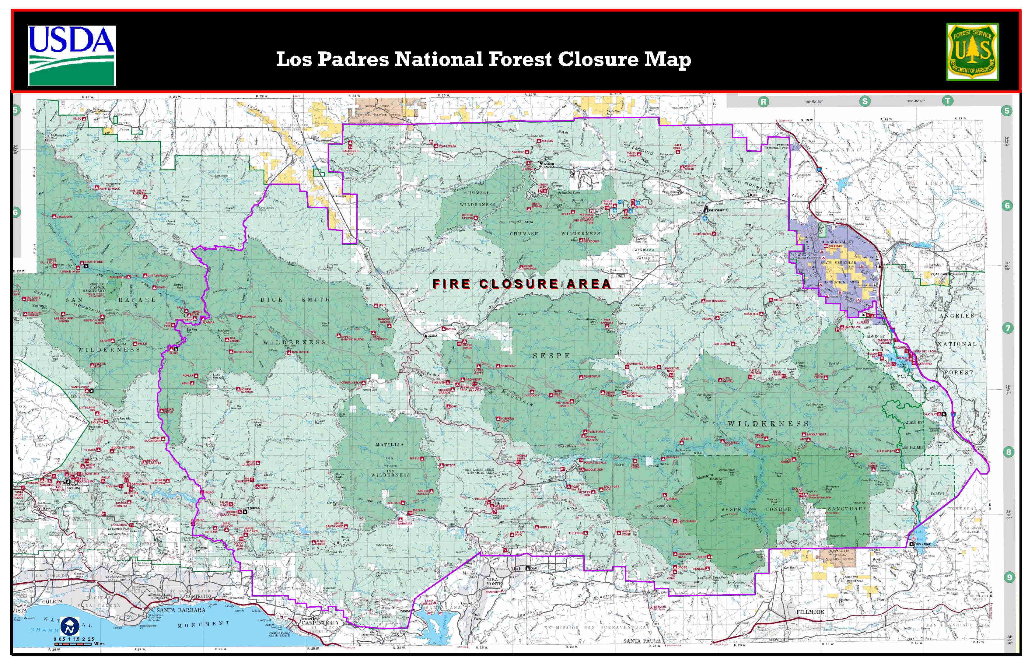 LPFW Wildfire Burns More Than  Acres In Sespe Wilderness Area - Us national forest fire map