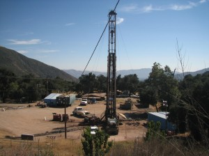 An oil well is drilled as part of a fracking operation in the Sespe Oil Field.