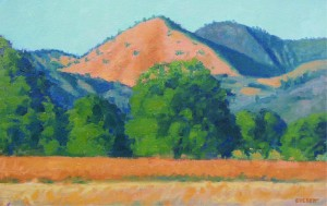 """Sunset on Grass Mountain"" Bruce Everett, oil, 11″ x 17″ $750"