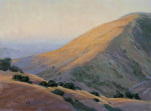 """Evening Creeping up Figueroa Mountain"" Nancy Becker, oil on canvas, 12"" x 16"" $995"