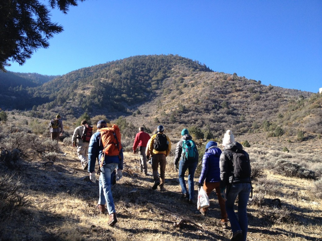 Volunteers hiking en route to the grow site.