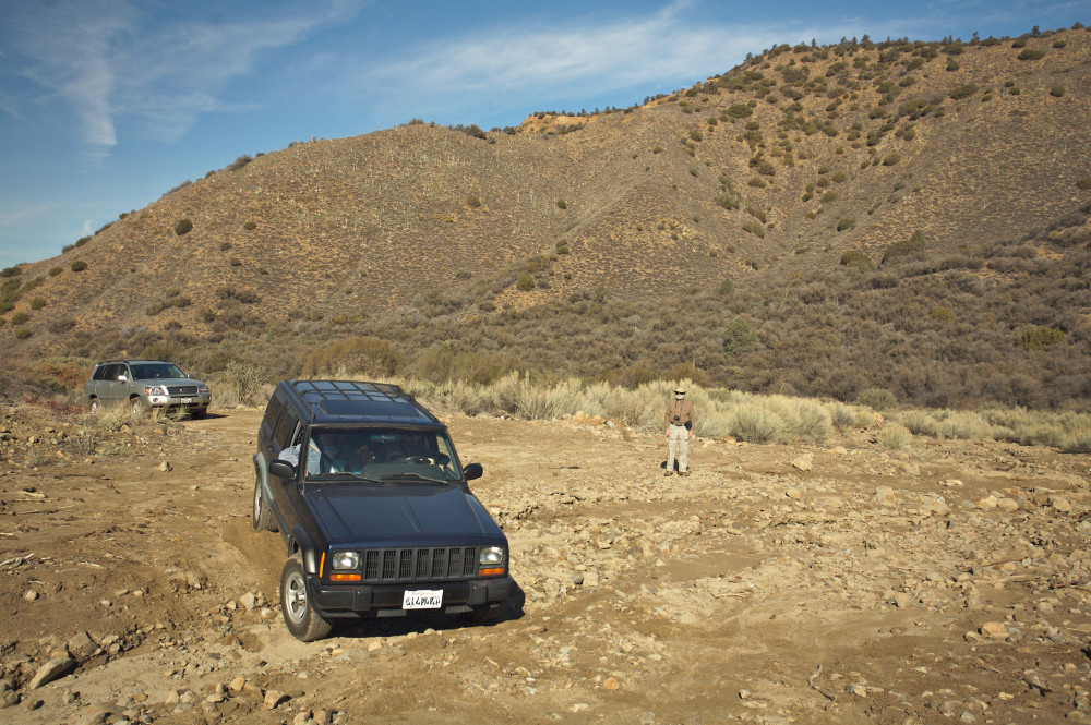 Fording a dry creekbed on our way to clean up microtrash on Cuyama Peak